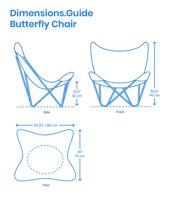 Dimension Guide of a butterfly chair